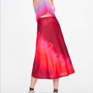 NWOT! Zara Tie Dye Midi Skirt